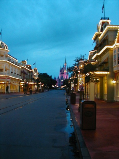 Empty Main Street at dusk