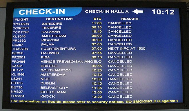 Cancelled Flights board
