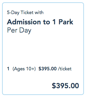 Example of a 5-day ticket to any of WDW's 4 parks