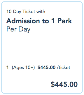 Example of a 10-day ticket to any of WDW's 4 parks